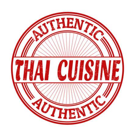 thailand food: Thai cuisine grunge rubber stamp on white background, vector illustration