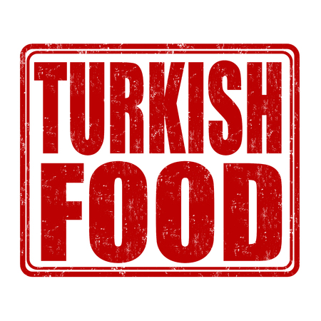 imprint: Turkish food grunge rubber stamp on white background, vector illustration