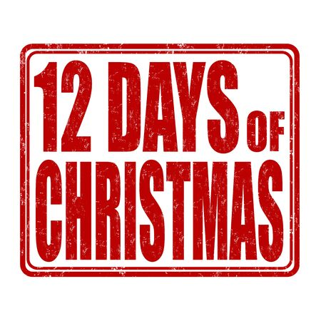 days: 12 Days of Christmas grunge rubber stamp on white background, vector illustration