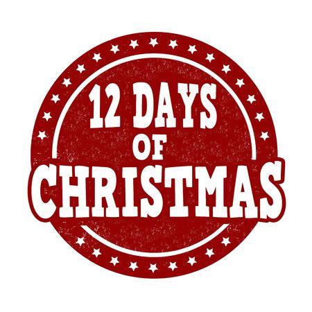 dia: 12 días de sello de goma del grunge de la Navidad en el fondo blanco, ilustración vectorial