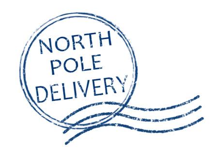 North Pole Delivery grunge rubber stempel op witte achtergrond, vector illustratie