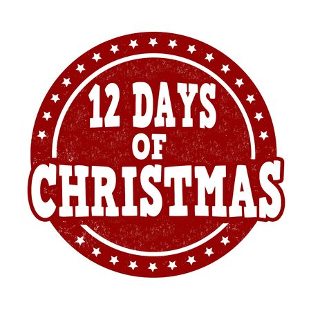 a 12: 12 Days of Christmas grunge rubber stamp on white background, vector illustration