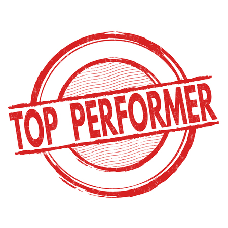 performer: Top performer grunge rubber stamp on white background, vector illustration