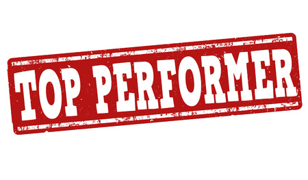 performers: Top performer grunge rubber stamp on white background, vector illustration