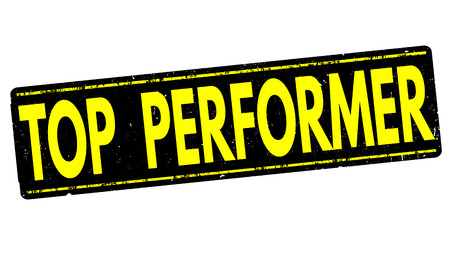 the performer: Top performer grunge rubber stamp on white background, vector illustration