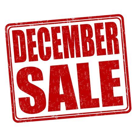 december: December sale grunge rubber stamp on white background, vector illustration