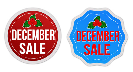 december: December sale stickers set on white background, vector illustration