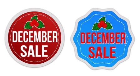 diciembre: Venta diciembre conjunto de pegatinas en el fondo blanco, ilustración vectorial