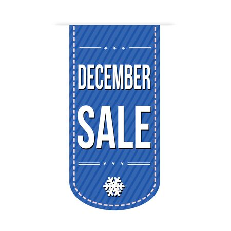 advertised: December sale banner design over a white background, vector illustration