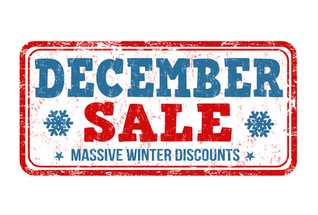 december: Diciembre sello de goma del grunge de la venta en el fondo blanco, ilustraci�n vectorial