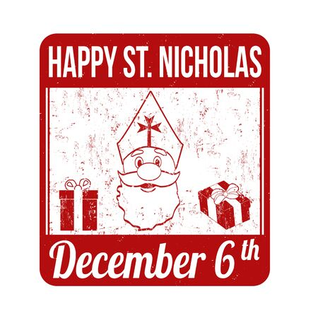 nicholas: Happy Saint Nicholas grunge rubber stamp on white background, vector illustration