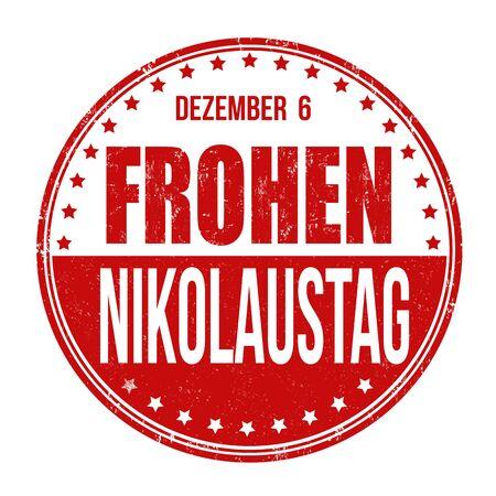 saint nicholas: Happy Saint Nicholas (in german language) grunge rubber stamp on white background, vector illustration