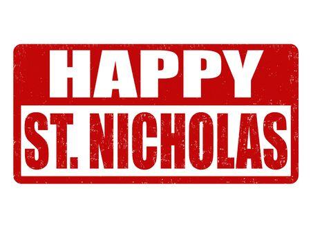 saint nicholas: Happy Saint Nicholas grunge rubber stamp on white background, vector illustration