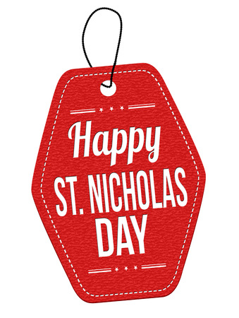 saint nicholas: Happy Saint Nicholas red leather label or price tag on white background, vector illustration