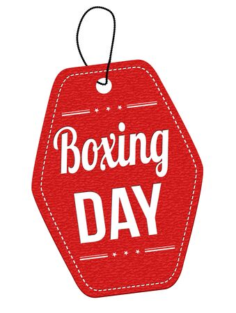leather label: Boxing day red leather label or price tag on white background, vector illustration