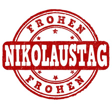 messy office: Happy Saint Nicholas (in german language) grunge rubber stamp on white background, vector illustration
