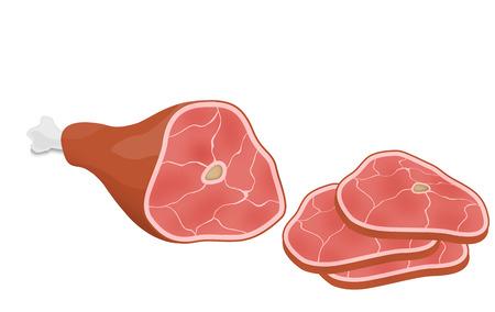 jamon: Jamón o jamón sobre fondo blanco, ilustración vectorial