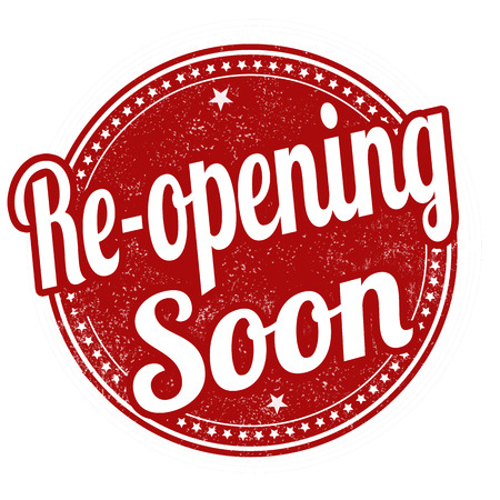 opening: Re-opening soon grunge rubber stamp on white background, vector illustration Illustration