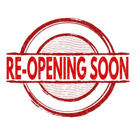 relaunch: Re-opening soon grunge rubber stamp on white background, vector illustration Illustration