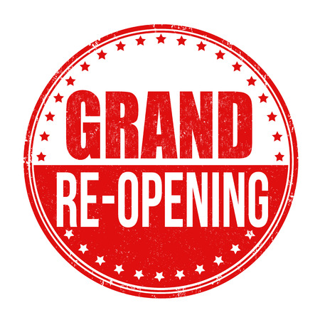 relaunch: Grand re-opening  grunge rubber stamp on white background, vector illustration