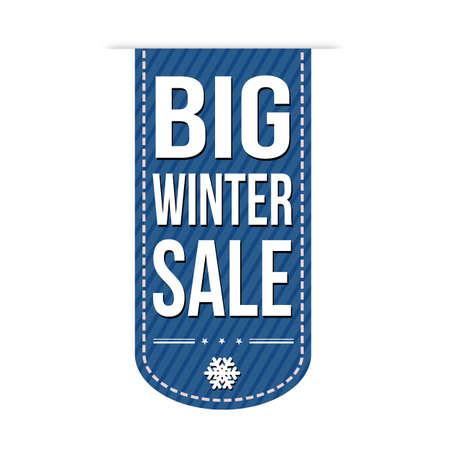 advertised: Big winter sale banner design over a white background, vector illustration