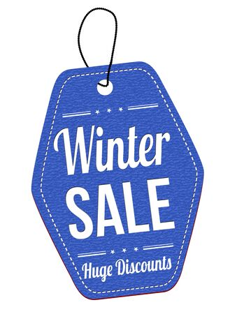 leather label: Winter sale blue leather label or price tag on white background, vector illustration