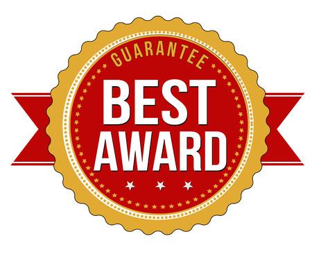 Best award label or stamp on white background, vector illustration  イラスト・ベクター素材