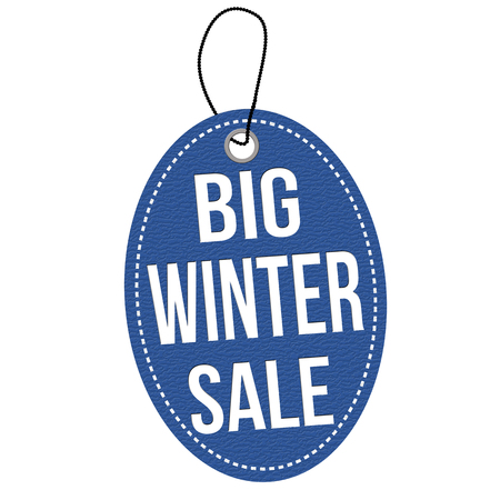 leather label: Big winter sale blue leather label or price tag on white background, vector illustration