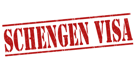 schengen: Schengen visa grunge rubber stamp on white background, vector illustration
