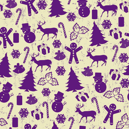 lila: Seamless pattern for Christmas on vintage style with Christmas elements, vector illustration