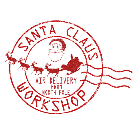 Santa Claus workshop grunge rubber stamp on white background, vector illustration Çizim