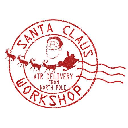 poststempel: Weihnachtsmann Werkstatt Grunge-Stempel auf weißem Hintergrund, Vektor-Illustration Illustration