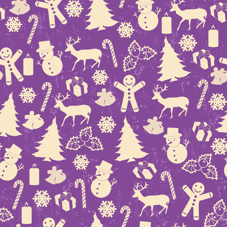 lila: Seamless pattern for Christmas on vintage style with Christmas elements on lila, vector illustration Illustration