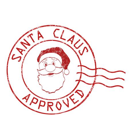 poststempel: Weihnachtsmann genehmigt Grunge-Stempel auf weißem Hintergrund, Vektor-Illustration