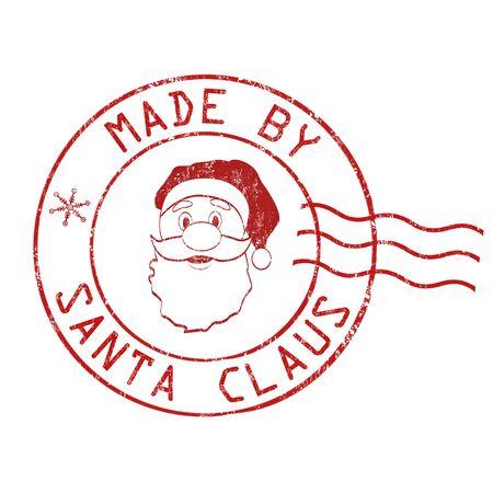 timbre postal: Hecho por el sello de goma del grunge de Santa Claus en el fondo blanco, ilustración vectorial