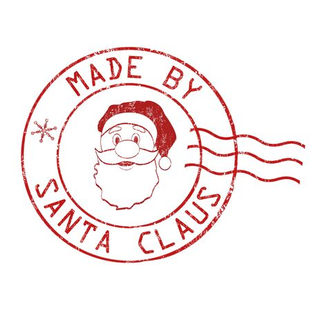 postage stamp: Made by Santa Claus grunge rubber stamp on white background, vector illustration Illustration