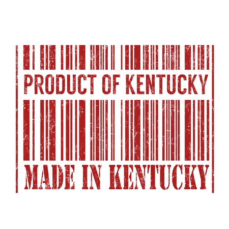 certificated: Product of Kentucky, made in Kentucky barcode grunge rubber stamp on white background, vector illustration