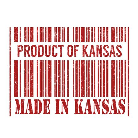 certificated: Product of Kansas, made in Kansas barcode grunge rubber stamp on white background, vector illustration
