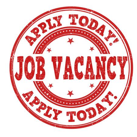 deserted: Job vacancy grunge rubber stamp on white background, vector illustration