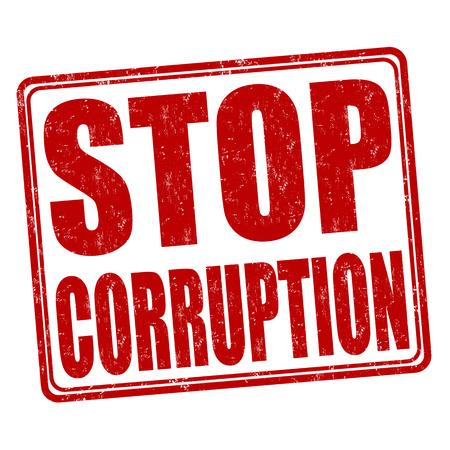 allegation: Stop corruption grunge rubber stamp on white background, vector illustration