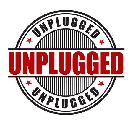 Unplugged grunge rubber stamp on white background, vector illustration