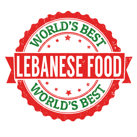 lebanese: Lebanese food grunge rubber stamp on white background, vector illustration Illustration