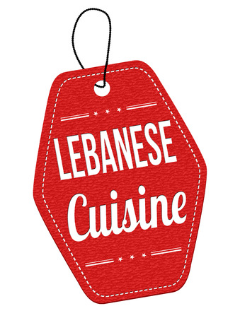 lebanese: Lebanese cuisine red leather label or price tag on white background, vector illustration