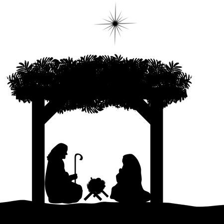 nascita di gesu: Natale, presepe con Gesù bambino nella mangiatoia, Maria e Giuseppe nella silhouette e stella di Betlemme Vettoriali