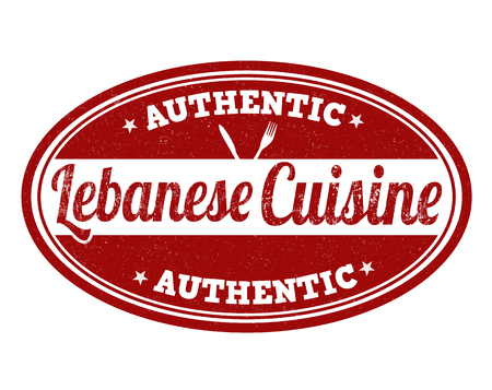 lebanese: Lebanese cuisine grunge rubber stamp on white background, vector illustration