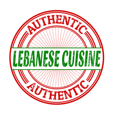 middle eastern food: Lebanese cuisine grunge rubber stamp on white background, vector illustration