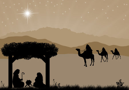 Christmas nativity scene with baby Jesus in the manger, Mary and Joseph in silhouette, three wise men or kings and star of Bethlehem Stock Illustratie
