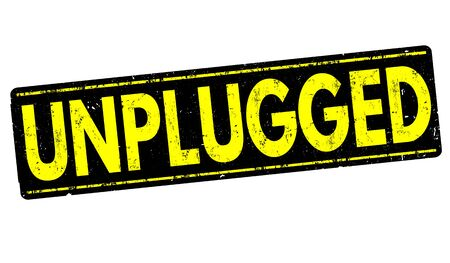 unplugged: Unplugged grunge rubber stamp on white background, vector illustration