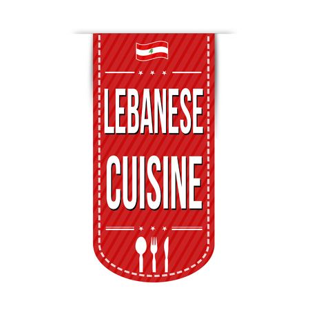 middle eastern food: Lebanese cuisine banner design over a white background, vector illustration