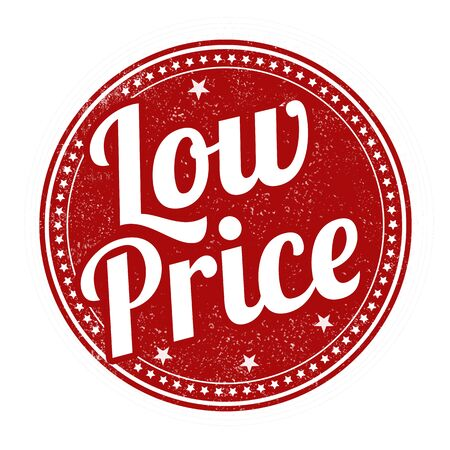 cost reduction: Low price grunge rubber stamp on white background, vector illustration
